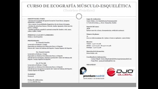 Curso ecografia musculoesqueletica Consejo Superior de Deportes Premium Madrid