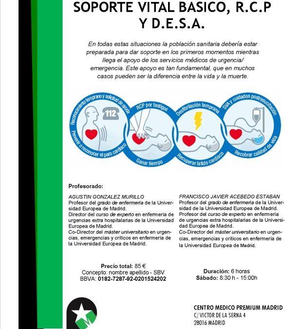 CURSO DE SOPORTE VITAL BASICO, RCP Y DESA.
